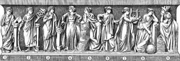 Clio-Thalie-Erato-Euterpe-Polhymnie-Calliope-Terpsichore-Uranie-Melpomène