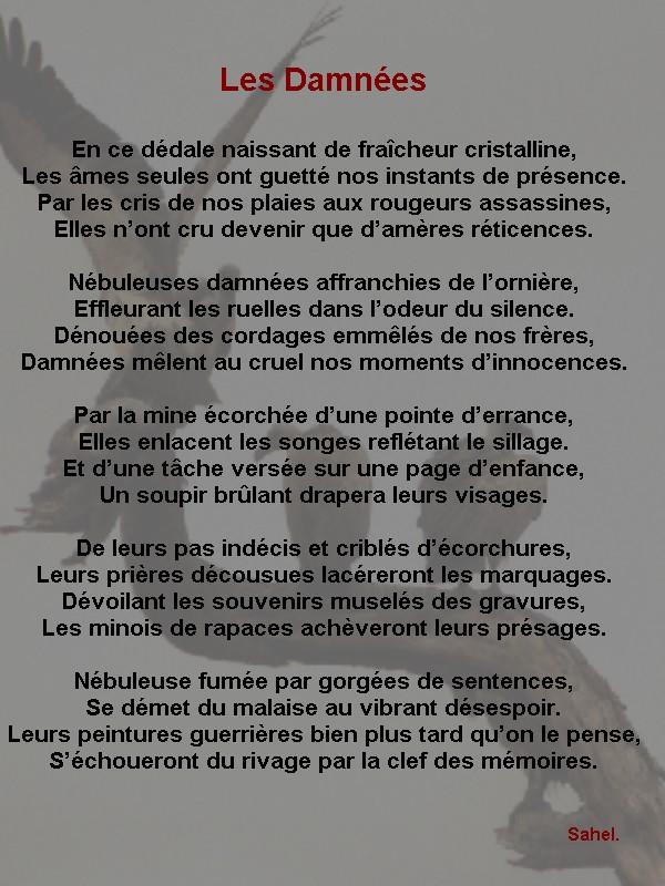 Les Damnées , poème écrit par Sahel